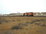 BNSF 5848 eb at Pedro siding north of Newcastle WY