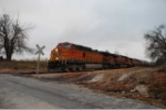 BNSF 4017 leads the first grain run thru on the AM