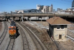 BNSF 5926 on a loaded Scherer Train passing the Spring St. Tower