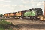 Westbound stack train departs