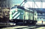 BN Units with Heater car backing into Minneapolis Depot