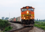 BNSF 5111 leads Eastbound NS 206 at MP 70 Bort Rd.