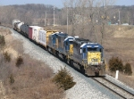 An SD40-2, SD50-3 and Genset consist leads L326-18 eastward