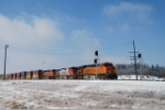 BNSF 7527 east on a cold January day