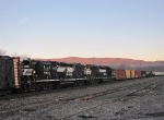 The NB V86 Local heading out at sunrise