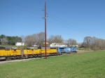 The NS 55T returning to Shenandoah with empty grain cars and a colorful consist