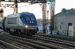 Amtrak HHP-8 No. 663 crossing the operable span over the Norwalk River