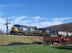 CSX 149 and 5493 Lead a Load of Empty Coal Cars Across New Bridge