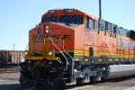BNSF 7388 close up shot of a brand new ES44AC leading the ZKCK-SBD at the BNSF Needles depot.