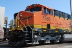 Up close shot of a brand new BNSF 7388 leading the Z KCK-SBD stack train.