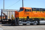 BNSF 7388 close up shot of the cab as she pulls out of BNSF Needles depot.
