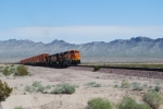 BNSF 7388 leads the ZKCK-SBD stack train west as she climbs the grade out of Needles, Ca.