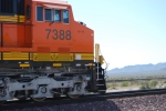 BNSF 7388 passes me by in this close up shot of the cab as she rolls west with the ZKCK-SBD.