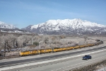 UP 7414 with the Wasatch Mountains