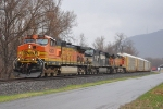 NS 11R at South Boyles with 2 BNSF engines