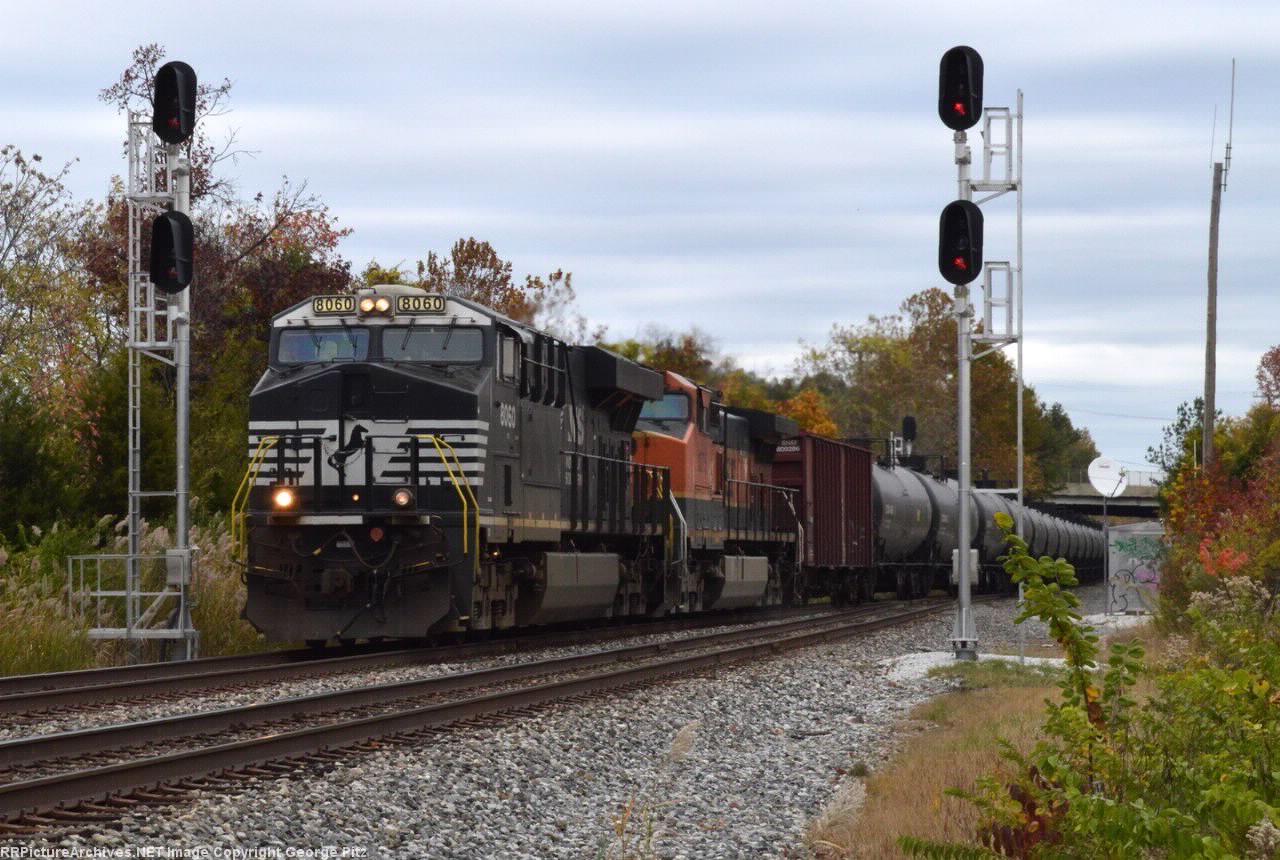 NS 8060 and CSX train K057