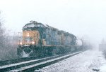 CSX 2677 in a heavy snow