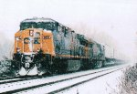 CSX 655 going through the snow