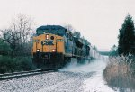 CSX 673 makes some snow swirls