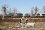 CSX 909 and 7385 cross White Marsh Run