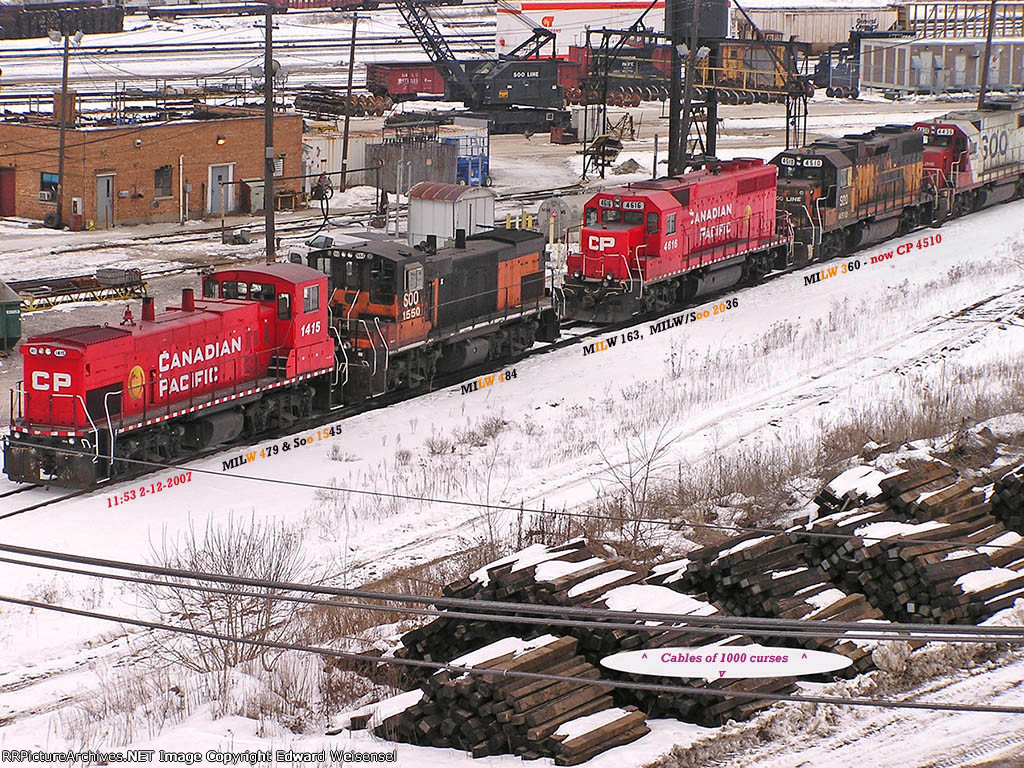 Four Milwaukee Road locos share the crowded ramp track with Soo 4436
