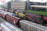 Wsor 1501 (Milw 491) and bandit gosling 1502 (475) run out thru Muskego yard to fetch their outbound train.