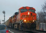 BNSF 6056 & BNSF 9880 lead coal @ Clay
