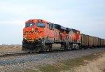 BNSF 6104 & BNSF 5664 as DPU on coal empty