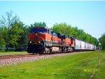 """BNSF """"Heritage 1"""" 965 & BNSF 4821 lead H-GALMAD1-07A."""