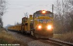 UP 4259 with large antenna leads Work Train to Texas