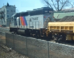 NJ Transit GP40-2 4300 works on station and track reconstruction