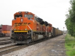 BNSF 9137 & 9153 bring up the rear of 808 as it heads west