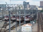 MBTA F40PH-2Cs 1032, 1075, 1060, & 1025 in the Southampton Street Yard, South Boston