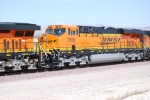 Close up shot of a Very Clean and Brand new BNSF 7808 as she rolls west behind BNSF 6604.