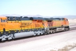 BNSF 5145 Leads a Brand New BNSF 7810 eastbound into the BNSF Barstow Depot for a crew change.