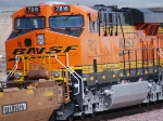 Zoom in shot of a Very Brand New ES44DC BNSF 7810 as she rolls east towards the BNSF Barstow Depot for a crew change.