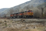 BNSF 5414 Exit the Yakima River Canyon at Thrall