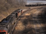 CN 330 meets CN 535 with brand new ore cars