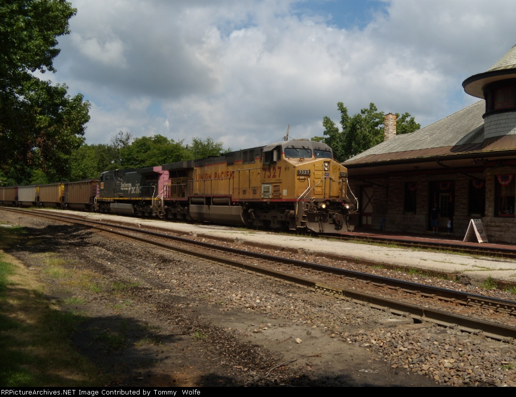 UP 7327 leads loaded coal eastbound