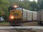 CSX 4504 Leads the AASAM which is a autopars train as it heads west as it meets a UP loaded coal train