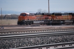 BNSF 6345 leads BNSF 8889 (SD-70MAC) and a mty coal train into the yard going west.
