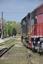 On less than perfect track, the train slowly eases through the former Milwakee Rd depot