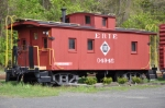 Erie wood caboose on display at old Middlefield Station