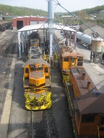 BPRR GP9's and SW1500's sit in the Butler Yard and Shops