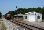 Q326-29 heads east past the old depot and MOW shed
