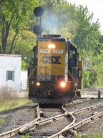 After meeting X500, D006 rolls off the double track beginning its trip to Benton Harbor
