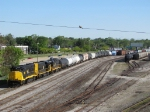 A pigeon supervises from on high as the Grand Rapids yard crew prepares their train for Kalamazoo