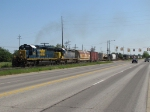 8085 & 8354 throttle up as they lead Q327-27 west along Chicago Dr