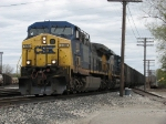 With a fresh crew aboard, CSX 330 leads N900-15 west off the Service Track with coal loads