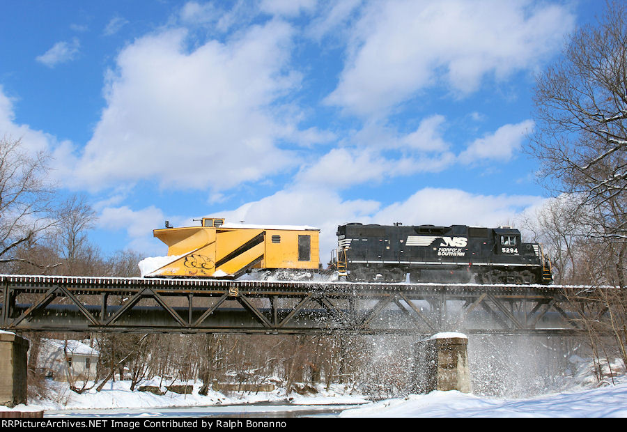 WS-x snow plow extra crossing the Ramapo River on a sunny but chilly Saturday